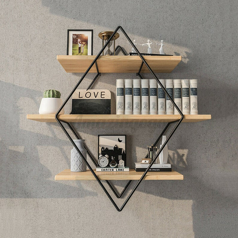 wall book shelves: rhombus