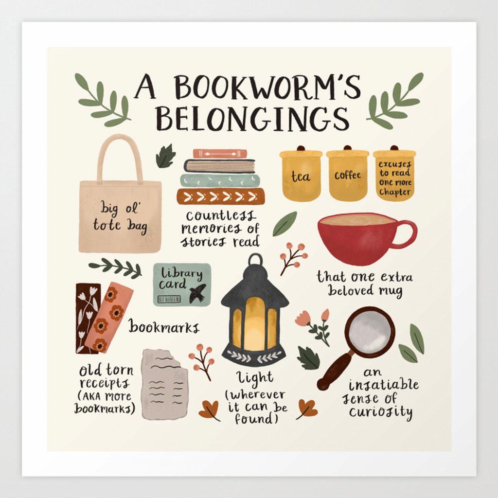 wall art decor: a bookworms belongings